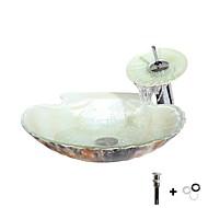 baratos Chuveiros-Pia de Banheiro / Torneira de Banheiro / Anél de Instalação de Banheiro Moderna - Vidro Temperado Redondo