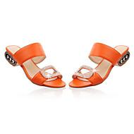 baratos Sapatos Femininos-Mulheres Couro Ecológico Verão Conforto Sandálias Sem Salto Laranja / Bege / Azul