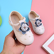 baratos Sapatos de Menina-Para Meninas Sapatos Couro Ecológico Primavera Verão Conforto / Sapatos para Daminhas de Honra Rasos Caminhada Pérolas Sintéticas / Flor / Velcro para Infantil Bege / Rosa claro