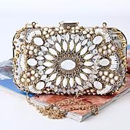 baratos Clutches & Bolsas de Noite-Mulheres Bolsas Seda Bolsa de Festa Detalhes em Cristal Branco