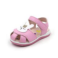 baratos Sapatos de Menina-Para Meninas Sapatos Couro Ecológico Primavera Verão Conforto / Sapatos para Daminhas de Honra Sandálias Caminhada Estampa Animal / Velcro para Bébé Branco / Pêssego / Rosa claro