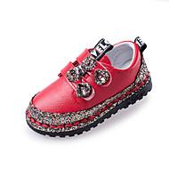 baratos Sapatos de Menina-Para Meninas Sapatos Couro Ecológico Outono & inverno Sapatos para Daminhas de Honra Rasos Caminhada Pedrarias para Infantil Preto / Vermelho / Rosa claro