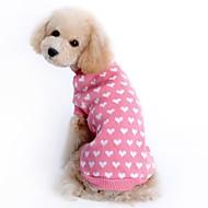 Mus & rotter / Hunder / Katter Gensere / Dekorasjon / Jul Hundeklær Trykt mønster / Enkel / Hjerte Rosa tekstil Kostume For kjæledyr Herre / Dame Fritid / hverdag / Oppvarminger
