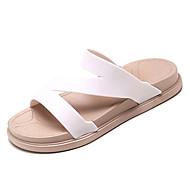 baratos Sapatos Femininos-Mulheres Sapatos Couro Ecológico Verão Chanel Chinelos e flip-flops Creepers Branco / Preto / Rosa claro