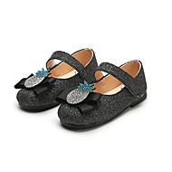 baratos Sapatos de Menina-Para Meninas Sapatos Couro Ecológico Primavera Verão Conforto / Sapatos para Daminhas de Honra Rasos Caminhada Gliter com Brilho / Velcro para Infantil Preto / Prata