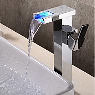tanie Baterie prysznicowe-Bateria do umywalki łazienkowej - Wodospad / Szeroko rozstawiona / Nowy design Chrom Ścienny Jeden uchwyt Jeden otwórBath Taps