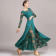 Balo Dansı Elbiseler Kadın's Performans Dantelalar / Włókno mleczne Dantel Uzun Kollu Doğal Elbise