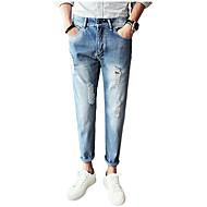 Herre Bomuld Tynd Jeans Bukser - Hul, Ensfarvet