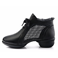billige Dansesneakers-Dame Dansesko Netting Joggesko Kubansk hæl Dansesko Hvit / Svart / Rød