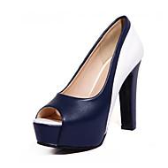 baratos Sapatos Femininos-Mulheres Sapatos Couro Ecológico Outono & inverno Plataforma Básica Saltos Salto Robusto Peep Toe Preto / Azul / Festas & Noite
