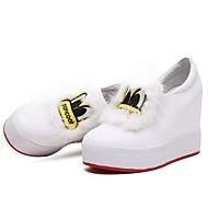 baratos Sapatos Femininos-Mulheres Sapatos Pele Napa Primavera Conforto Rasos Sem Salto Ponta Redonda Penas Branco / Preto