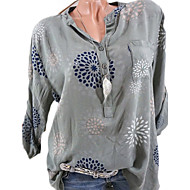 Women's Daily Basic Shirt - Floral V Neck Gray XXXL