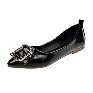 Χαμηλού Κόστους Άνετα μοκασίνια-Γυναικεία Παπούτσια PU Φθινόπωρο Μοκασίνι Χωρίς Τακούνι Επίπεδο Τακούνι Μυτερή Μύτη Μαύρο / Κόκκινο / Ροζ