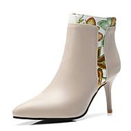 baratos Sapatos Femininos-Mulheres Sapatos Couro Ecológico Outono & inverno Botas da Moda Botas Salto Agulha Dedo Apontado Botas Curtas / Ankle Preto / Bege / Festas & Noite