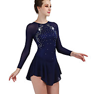 cheap -Figure Skating Dress Women's / Girls' Ice Skating Dress Dark Navy Open Back Spandex, Stretch Yarn High Elasticity Training / Competition Skating Wear Handmade Classic Sleeveless Performance / Ice