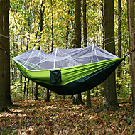 cheap -Camping Hammock with Mosquito Net Outdoor Ultra Light, Portable, Moistureproof, Well-ventilated with Carabiners and Tree Straps Spinning Cotton for 2 person Camping / Hiking / Fishing - Army Green