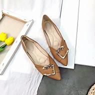 baratos Sapatos Femininos-Mulheres Couro Ecológico Outono Conforto Rasos Sem Salto Dedo Apontado Preto / Bege / Castanho Claro