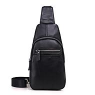 a5c8cdac0abe Men s Bags Cowhide Sling Shoulder Bag Zipper Black   Coffee   Brown