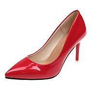 baratos Sapatos Femininos-Mulheres Couro Ecológico Verão Plataforma Básica Saltos Salto Agulha Dedo Apontado Preto / Vermelho / Rosa claro