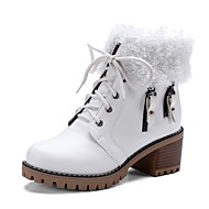 cheap -Women's Shoes PU(Polyurethane) Fall & Winter Fashion Boots Boots Chunky Heel Booties / Ankle Boots White / Black / Brown