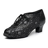 billige Sko til latindans-Dame Sko til latindans Sateng Oxford / Høye hæler Tykk hæl Dansesko Gull / Svart / Rød