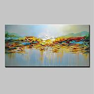 billige Nyheter-Hang malte oljemaleri Håndmalte - Abstrakt / Landskap Moderne Inkluder indre ramme / Stretched Canvas
