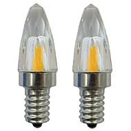 billige Stearinlyslamper med LED-2pcs 3 W 150-200 lm E12 LED-lysestakepærer 1 LED perler COB Dekorativ Varm hvit / Kjølig hvit 220-240 V / 110-120 V
