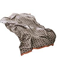 billiga Filtar och plädar-Korallfleece, Reaktiv Tryck Geometrisk Bomull / Polyester filtar