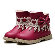 baratos Sapatos de Menina-Para Meninas Sapatos Couro Ecológico Inverno Botas de Neve / Sapatos para Daminhas de Honra Botas Laço / Mocassim para Bébé Azul Escuro / Pêssego / Rosa claro / Botas Curtas / Ankle / Festas & Noite