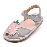 baratos Sapatos de Menina-Para Meninas Sapatos Couro Sintético Verão Conforto Sandálias Velcro para Bébé Cinzento / Amêndoa