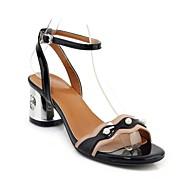 baratos Sapatos Femininos-Mulheres Sapatos Confortáveis Couro Envernizado Verão Sandálias Salto Robusto Prateado / Rosa claro