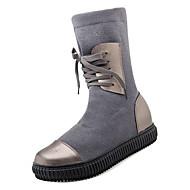 tanie -Damskie Fashion Boots PU / Elastyczna tkanina Jesień Casual Botki Płaski obcas Okrągły Toe Kozaki Czarny / Szary