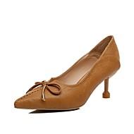 baratos Sapatos Femininos-Mulheres Stiletto Couro Ecológico Outono Saltos Salto Agulha Dedo Apontado Bege / Vermelho / Castanho Claro