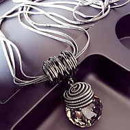 Kadın's Kristal Bağlantı zinciri Uçlu Kolyeler uzun Kolye Bayan Avrupa abartma Havalı Gümüş 60 cm Kolyeler Mücevher 1pc Uyumluluk Kulüp Bar