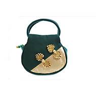 baratos Bolsas Tote-Mulheres Bolsas Tela de pintura Tote Bordado / Flor Preto / Verde Escuro