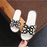 baratos Sapatos de Menina-Para Meninas Sapatos Couro Sintético Verão Conforto Chinelos e flip-flops Pérolas para Infantil / Adolescente Branco / Preto