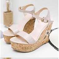 tanie Obuwie damskie-Damskie Komfortowe buty Skóra nappa Lato Sandały Obcas wedge Czarny / Różowy