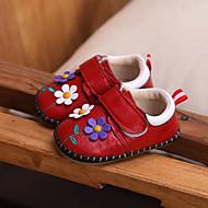 baratos Sapatos de Menina-Para Meninas Sapatos Pele Primavera & Outono Primeiros Passos Tênis Velcro para Bebê Vermelho / Rosa claro
