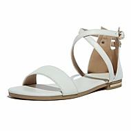 baratos Sapatos de Menina-Para Meninas Sapatos Pele Primavera & Outono Conforto / Sapatos para Daminhas de Honra Sandálias para Branco / Preto / Cinzento Escuro