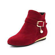 cheap -Women's Bootie Suede Fall & Winter Boots Flat Heel Round Toe Booties / Ankle Boots Buckle Black / Yellow / Red
