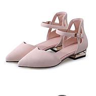 baratos Sapatos Femininos-Mulheres Sapatos Camurça Primavera Conforto Rasos Salto Baixo Preto / Cinzento / Rosa claro