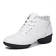 billige Moderne sko-Dame Moderne sko Nappa Lær Flate Flat hæl Dansesko Hvit / Svart / Mørkerød