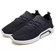baratos Sapatos Masculinos-Homens Tricô / Tecido elástico Verão Conforto Tênis Corrida Estampa Colorida Preto / Cinzento / Vermelho