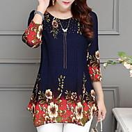 Dame - Ensfarvet / Blomstret Basale Bluse