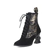 billige -Dame Fashion Boots Ruskind Efterår vinter Klassisk Støvler Heterotypisk hæl Rund Tå Ankelstøvler Guld / Sort / Sølv / Fest / aften / Farveblok