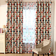 cheap Curtains & Drapes-Blackout Curtains Drapes Kids Room Geometric 100% Polyester Printed