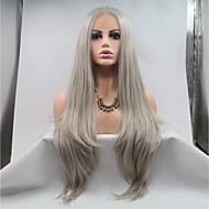 Syntetisk Lace Front Parykker Lige Frisure i lag 130% Menneskelige hår tæthed Syntetisk hår 26 inch Dame / Ungdom Mørkegrå Paryk Dame Mellemlængde Blonde Front