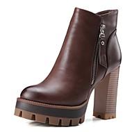 baratos Sapatos Femininos-Mulheres Sapatos Microfibra Outono & inverno Conforto Botas Salto Robusto Cinzento / Camel / Castanho Escuro