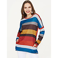 Dame - Stribet Bomuld Basale / Farveblok T-shirt / Forår / Fin Stripe