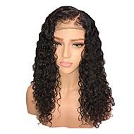 Συνθετικές Περούκες / Συνθετικές μπροστινές περούκες δαντέλας Γυναικεία Σγουρά Μαύρο Κούρεμα με φιλάρισμα / Πλευρικό μέρος Συνθετικά μαλλιά 18 inch / Δαντέλα Μπροστά / Φυσική γραμμή των μαλλιών